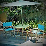 Zew 4-Piece Bamboo Outdoor Patio Set Includes Square Table, 2 Treated Canvas Chairs and 1 Umbrella, Aqua