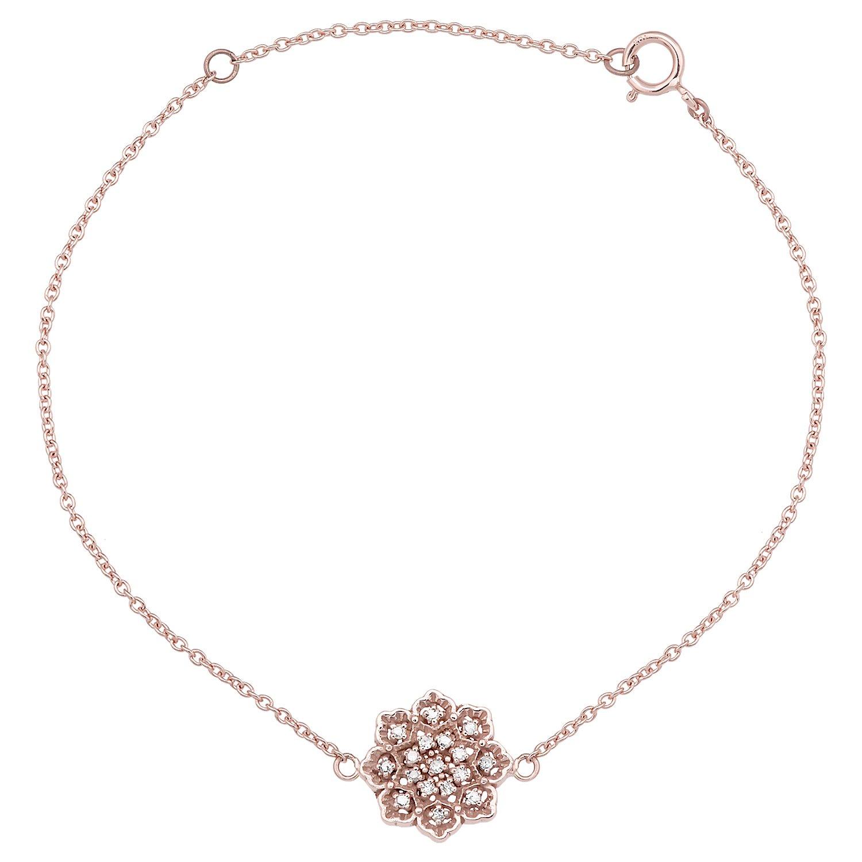 10k Rose Gold Floral Style Diamond Pendant Bracelet