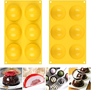 Fimary 3 Inches 6 Holes Half Sphere Silicone Molds For Chocolate, Cake, Jelly, Pudding, Food Grade Round Silicon Molds for Cake Baking (1, yellow)