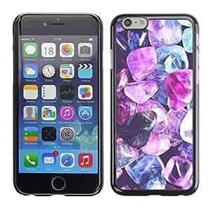 FlareStar Colour Printing Purple Crystal Gem Blue Jewel Diamond cáscara Funda Case Caso de plástico para Apple (4.7 inches!!!) iPhone 6