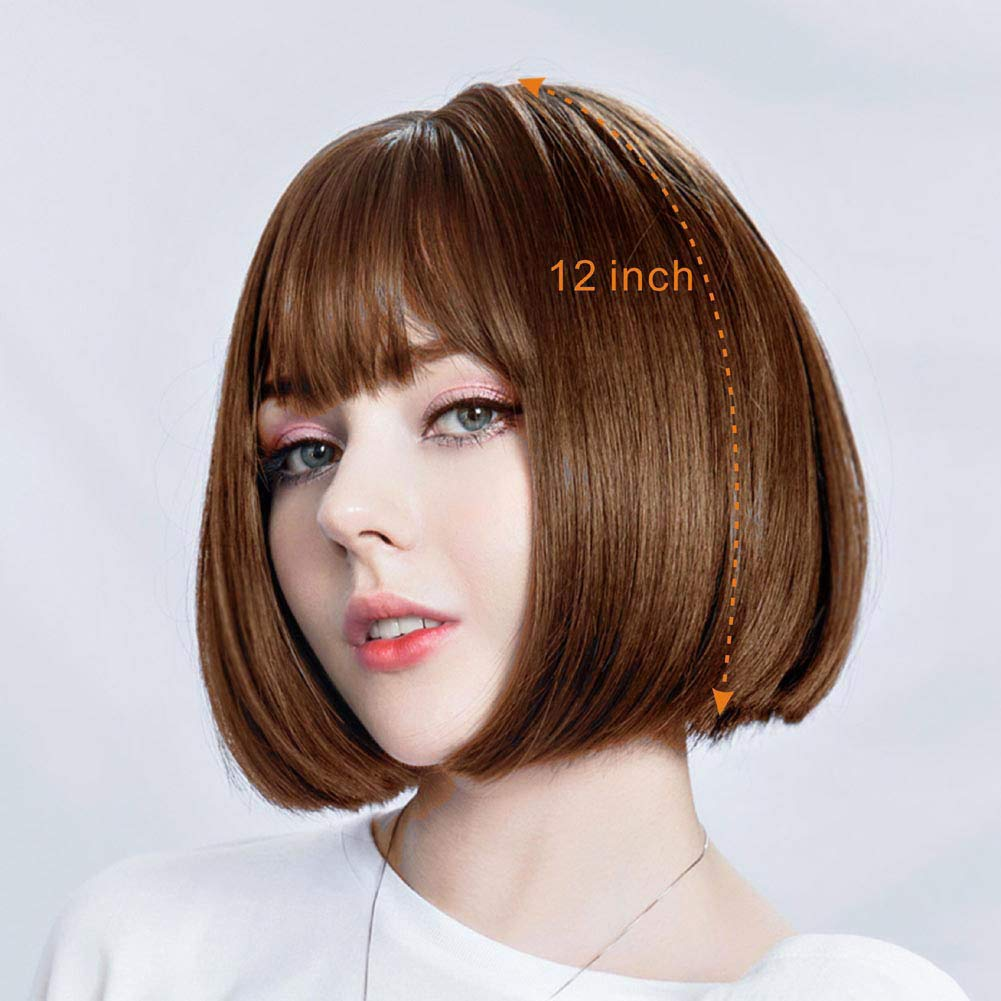 DASANI Short Bob Hair Wigs for Women, Brown Wigs with Bangs Straight Synthetic Wig Natural As Real Hair 12'' (02brown)