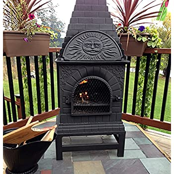 The Blue Rooster Co. Casita Style Cast Iron Wood Burning Chiminea in Charcoal.