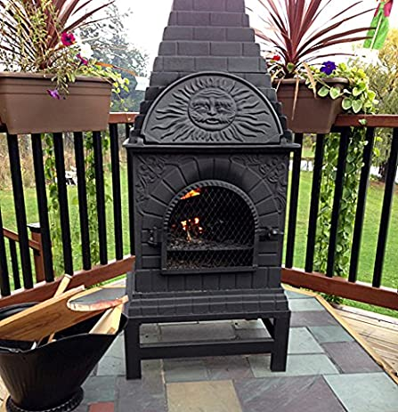 Amazon.com : The Blue Rooster Co. Casita Style Cast Iron Wood Burning Chiminea in Charcoal. : Outdoor Pizza Oven And Fireplace : Garden & Outdoor