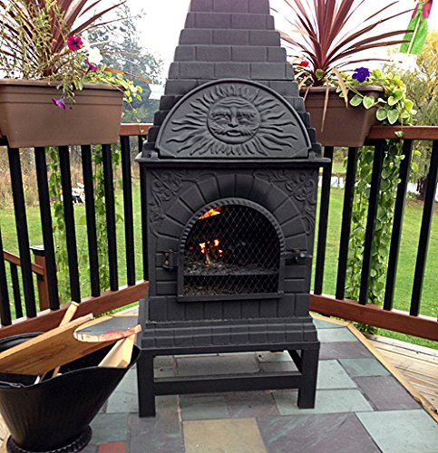Wood Burning Oven Pizza (The Blue Rooster Co. Casita Style Cast Iron Wood Burning Chiminea in Charcoal.)