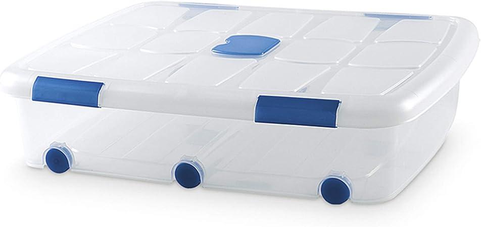 PLASTIC FORTE, Caja de almacenamiento, TRANSPARENTE, 56 litros, con ruedas: Amazon.es: Hogar