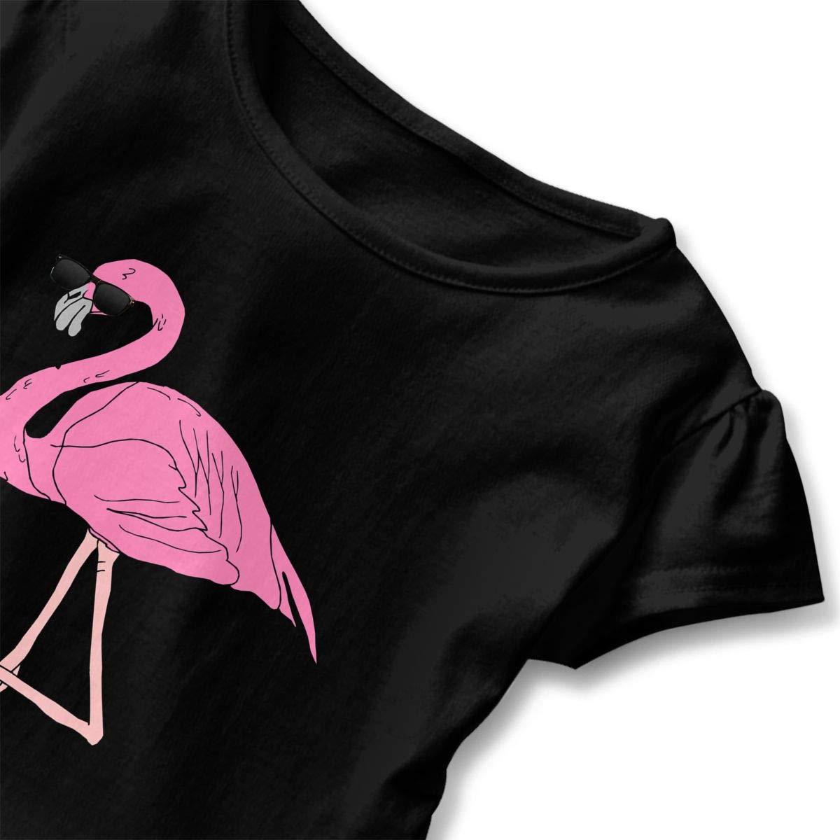 Cool Pink Flamingo Toddler Baby Girls Cotton Ruffle Short Sleeve Top Comfortable T-Shirt 2-6T