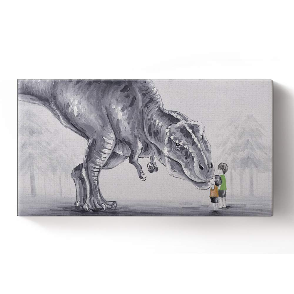 Libaoge Hand Painted Two Lovely Baby Boy Touching Trex Dinosaur in The Forest Oil Painting on Canvas with Wood Frame, Modern Home Wall Decoration Artwork Ready to Hang(16x31.5 inch)