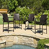 Great Deal Furniture | Stewart | Outdoor Wicker Barstool | Set of 4 | in Brown