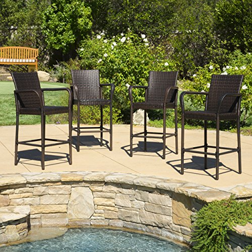 Great Deal Furniture Stewart | Outdoor Wicker Barstool | Set of 4 | in Brown - Wicker Outdoor Bar Stools