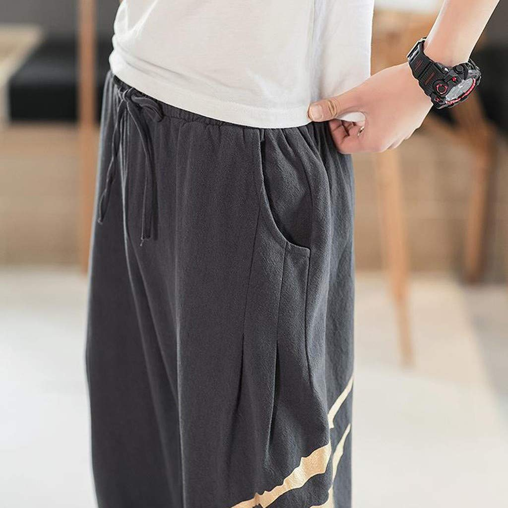 Allywit Men's Printed Claw Graphic Baggy Harem Capri Loose Fit Linen Pants with Pockets Big and Tall Dark Gray by Allywit-Pants (Image #7)