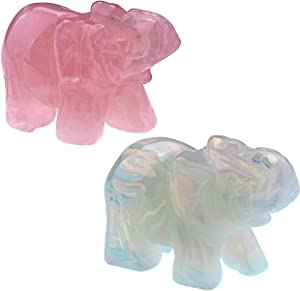 Top Plaza 2pcs Healing Crystal Stones Rose Quartz & Opal Elephant Figurines Reiki Gemstone Crafts Statues Elephant Gifts Collectible Decor for Home Office Desk 1.5 inches