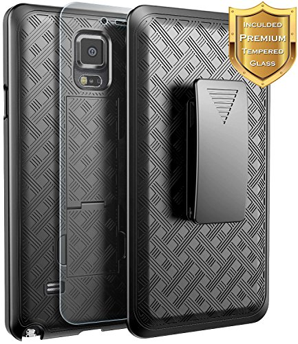 NageBee Galaxy Note 4 Case with [Tempered Glass Screen Protector], Combo Shell & Holster Case Super Slim Case w/Built-in Kickstand [Swivel Belt Clip] for Samsung Galaxy Note 4 [SM-N910] - Black