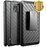 Galaxy Note 4 Case with [Tempered Glass Screen Protector], NageBee Combo Shell & Holster Case Super Slim Case w/ Built-In Kickstand [Swivel Belt Clip] For Samsung Galaxy Note 4 [SM-N910] - Black