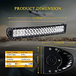 DOT 22 Inch 120W Curved LED light bar + 2PCS 4 In