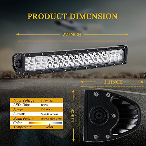 """DOT 22 Inch 120W Curved LED light bar + 2PCS 4 In 36W Triple Row Cube Pods Driving Lights + Horizontal Bull Bar Tube Clamp Mounting Kit 1""""/1.5""""/1.75""""/2"""" W/Rocker Switch DT Connector Wiring Harness"""