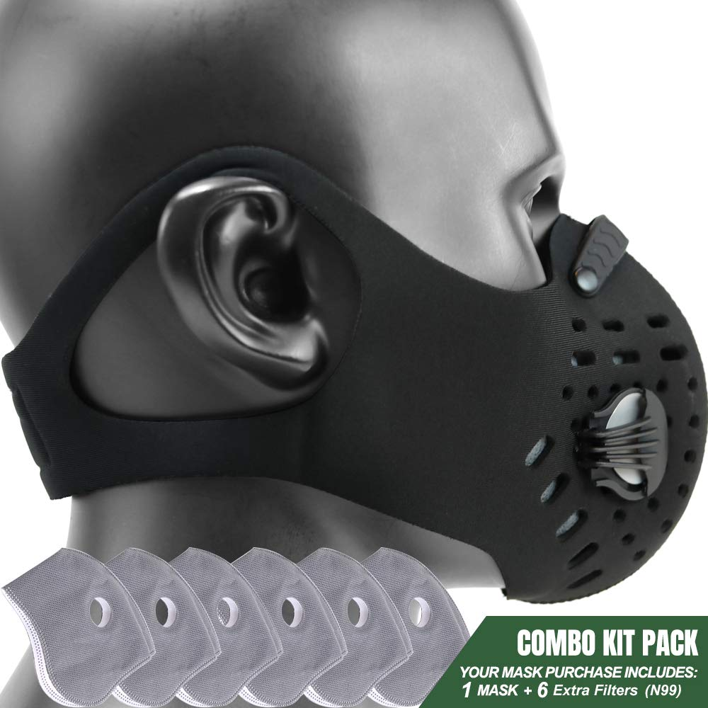 MONATA Reusable Dust/Pollution Mask with Activated Carbon Filter and Earloop For Woodworking House Cleaning Gardening and Outdoor Activities