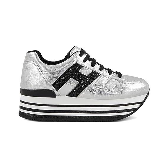 Hogan Sneakers H368 Maxi in Pelle Argento Nero 2f0e46ca53f
