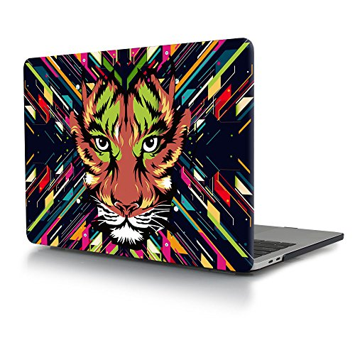 Batianda Lifelike Tiger Pattern Crystal Hard Sleeve Protective Cover Case for Latest MacBook Pro 13 inch Model:A1989 A1706 & A1708 with/Without Touch Bar (Release 2018 2017 & 2016) (Tiger Pro Macbook)