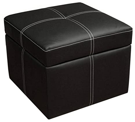 Genial DHP Delaney Small Square Ottoman Storage, Rich Faux Leather, Black