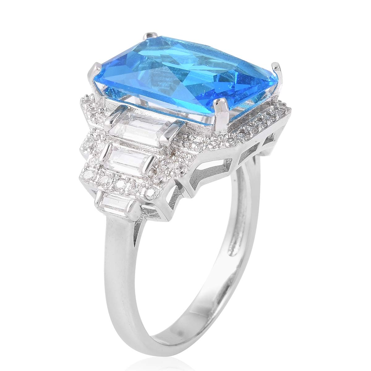 Shop LC Delivering Joy Statement Ring Octagon White Cubic Zirconia CZ Silvertone Gift Jewelry for Women Ct 1.2