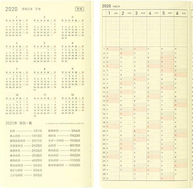 Hobonichi Techo Weeks Apr Start japon/és, tama/ño de cartera, inicio de abril de 2020 L/ínea blanca negro