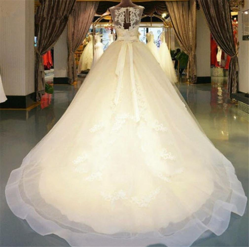 Vestido de novia elegante una línea gasa novia boda vestidos hermosos pendientes blanco suelo Longitud Vestido de novia, us 2: Amazon.es: Hogar