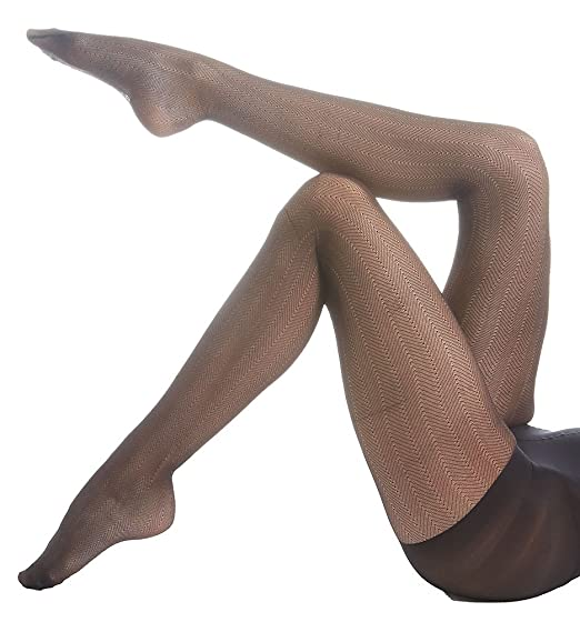 ddd18b75d Image Unavailable. Image not available for. Color  Hue Women s Herringbone  Sheer Control Top Pantyhose (1 ...
