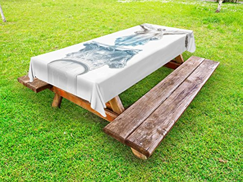 Ambesonne Toga Party Outdoor Tablecloth, Antique Muse Statue Athens Hellenistic Period Mythological Monument Art, Decorative Washable Picnic Table Cloth, 58 X 120 Inches, Pale Blue Umber
