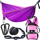 """Light-weight But Strong Bearing Strength The hammock weighs only the half weight of ordinary canvas hammock, the overall weight is only 2.4lb with all accessories included, keep your pack light in outdoor trip. This 118"""" x 78"""" double hammock can hold..."""
