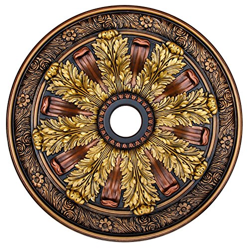 "Fine Art Deco CCMF-036""Sunshine Illusion"" Hand Painted Ceiling Medallion Finished in Bronze, 30"" L x 30"" W, Gold/Copper"