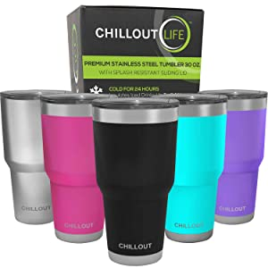CHILLOUT LIFE 30 oz Stainless Steel Tumbler with Lid & Gift Box | Double Wall Vacuum Insulated Large Travel Coffee Mug with Splash Proof Lid for Hot & Cold Drinks - Powder Coated Tumbler