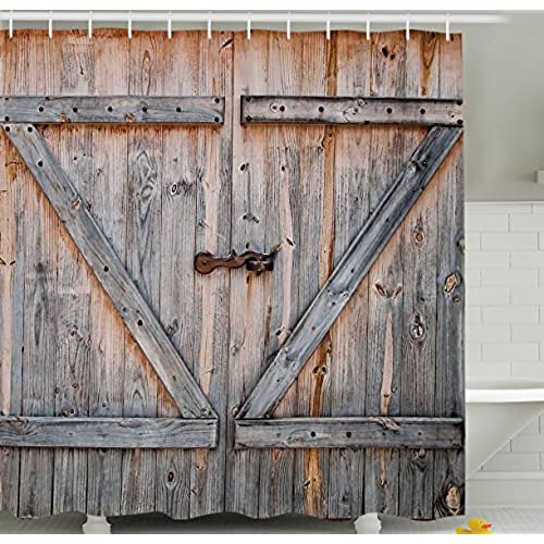 Fabric Shower Curtain Country Decor By Ambesonne , Old Wooden Garage Door  American Style Decorations For Bathroom Print Vintage Rustic Theme Decor  Home ...