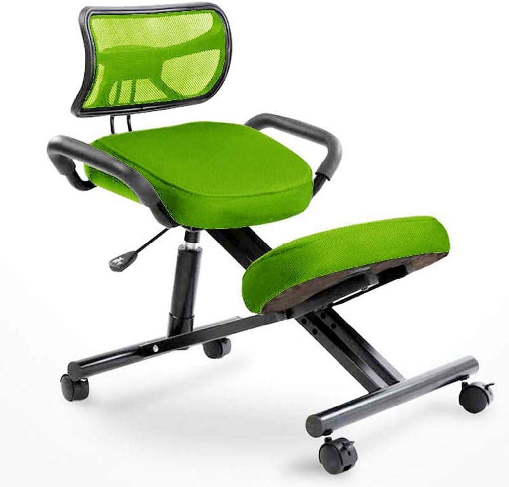 キャスター付きハンドルに戻る、から選択する5色で人間工学膝間付チェアオフィスチェア姿勢チェア、 ニーリングチェア HUXIUPING (Color : Green)
