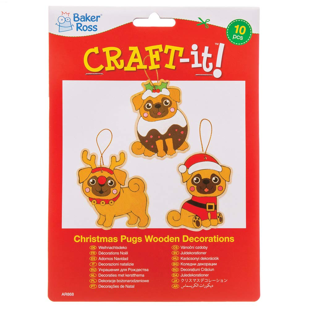 Pack Of 10 For Kids Christmas Crafts And Decorations Baker Ross Christmas Pugs Wooden Decorations