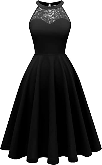 Bbonlinedress damska sukienka koktajlowa, sukienka wieczorowa, rockabilly, vintage, wiązana na szyi: Odzież