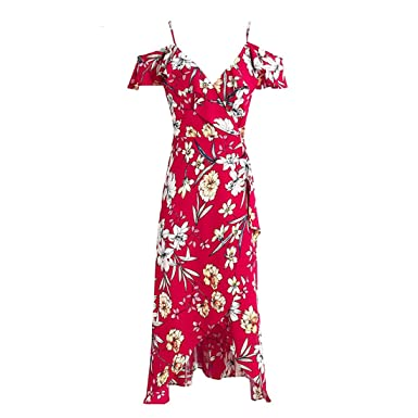 Tianyuano Elegant floral print boho dress women Sexy v neck lace up long dress Split beach