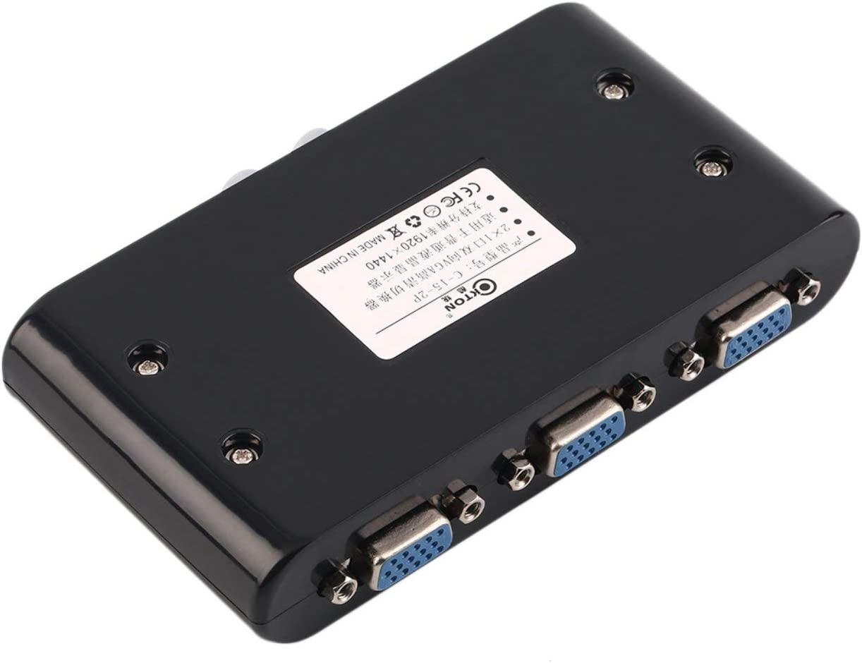 Liobaba 2 in 1 Out VGA//SVGA Manual Sharing Selector Switch Switcher Box Compatible for LCD PC
