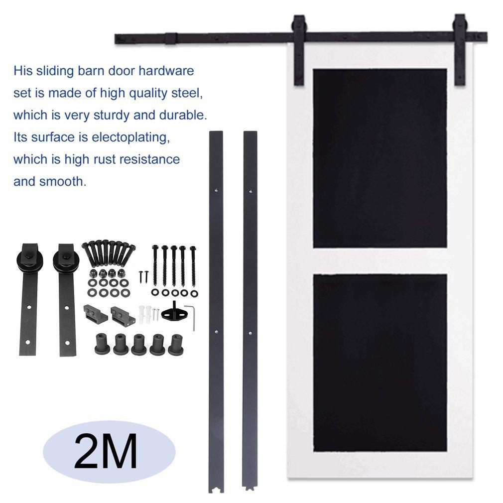 Comots Set di guide per porta scorrevole 2 m,/Binario di sospensione porte per interni e armadi a muro kit guarnizioni per porte scorrevoli