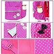 Moonwind Polka Dots Bow 3pcs Kids Book Bag School Backpack Handbag Purse Set for Girls Teen (Rose)