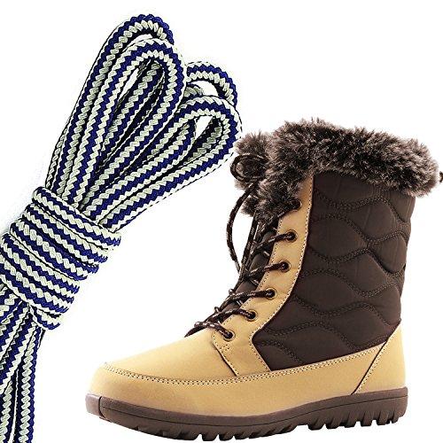 Dailyshoes Womens Confortable Bout Rond Cheville Plate Haute Eskimo Fourrure Dhiver Bottes De Neige, Bleu Marine Blanc Tan Pu