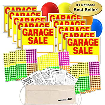 garage sale sign kit with pricing labels and change apron a504g