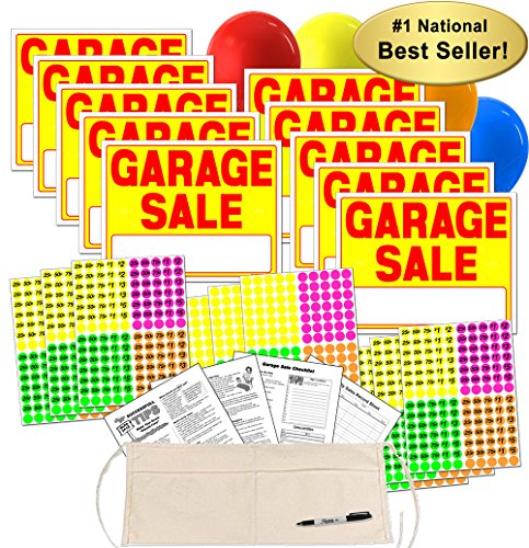 Garage Sale Sign Kit with Pricing Labels and Change Apron (A504G) -