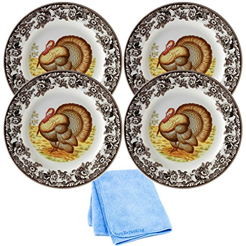Spode Woodland Turkey Thanksgiving Dinner Plate, Set of 4 with Dish Cloth