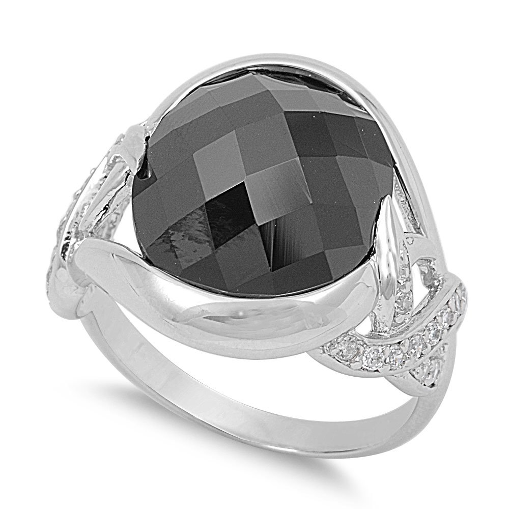 CloseoutWarehouse Accent Round Bezel Faceted Black Cubic Zirconia Ring Sterling Silver 925
