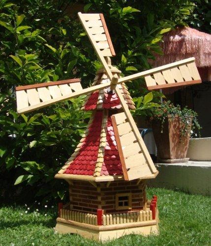Windmühle,Windmühle für Garten, mit Holzschindel - Dach NEU mit kugelgelagert, Solarbeleuchtung=Windmühlen-Zubehör / Angebot ohne Solar, extra 1 m groß rot lasiert hell weinrot + natur