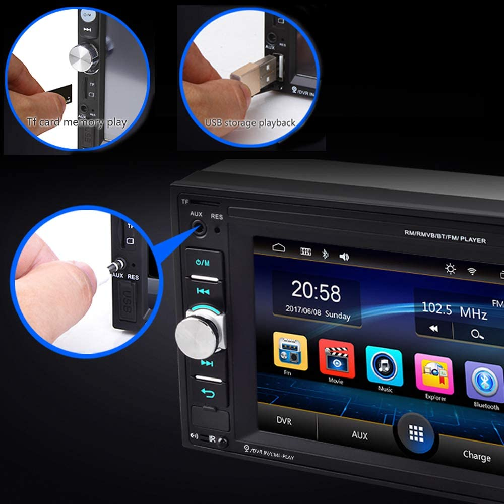 USB TF Auxiliary Input SD Steering Wheel Control Hodozzy Double Din Bluetooth Car Radio 6.2 Inch Car Multimedia Player Touchscreen Audio Car MP5 Player Support FM Rear View Camera