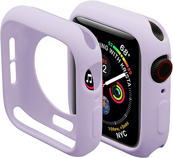 Miimall Compatible Apple Watch Case Series 4 5 6 40mm, Durable Flexible TPU Protective Bumper Cover for Apple Watch SE Series 6 Series 5 Series 4 40mm Case Purple
