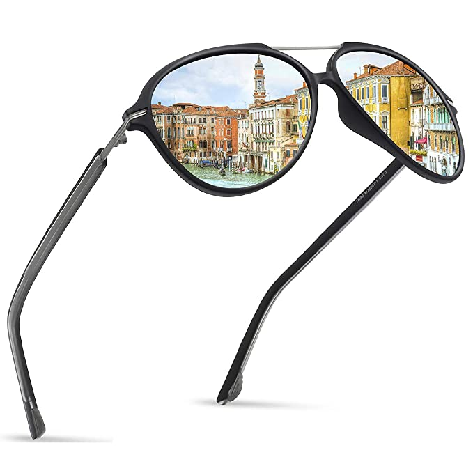 f8ab75272a8 Image Unavailable. Image not available for. Color  JULI Polarized Pilot  Fashion Sunglasses for Men Women Tr90 ...