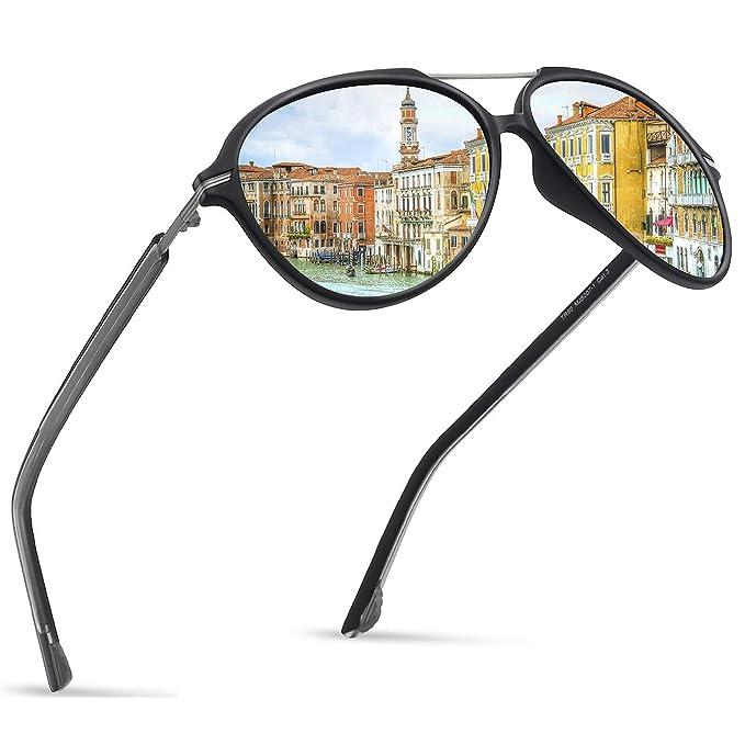 808023d3050 Image Unavailable. Image not available for. Color  JULI Polarized Pilot  Fashion Sunglasses for Men Women Tr90 Metal Frame ...