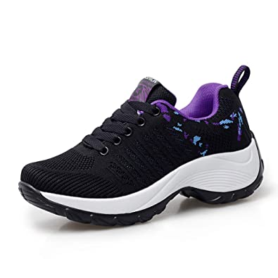 0f9e67c479 FLARUT Womens Sneakers Running Shoes Knit Breathable Lightweight Fashion Casual  Walking Athletic Platform Loafers(E